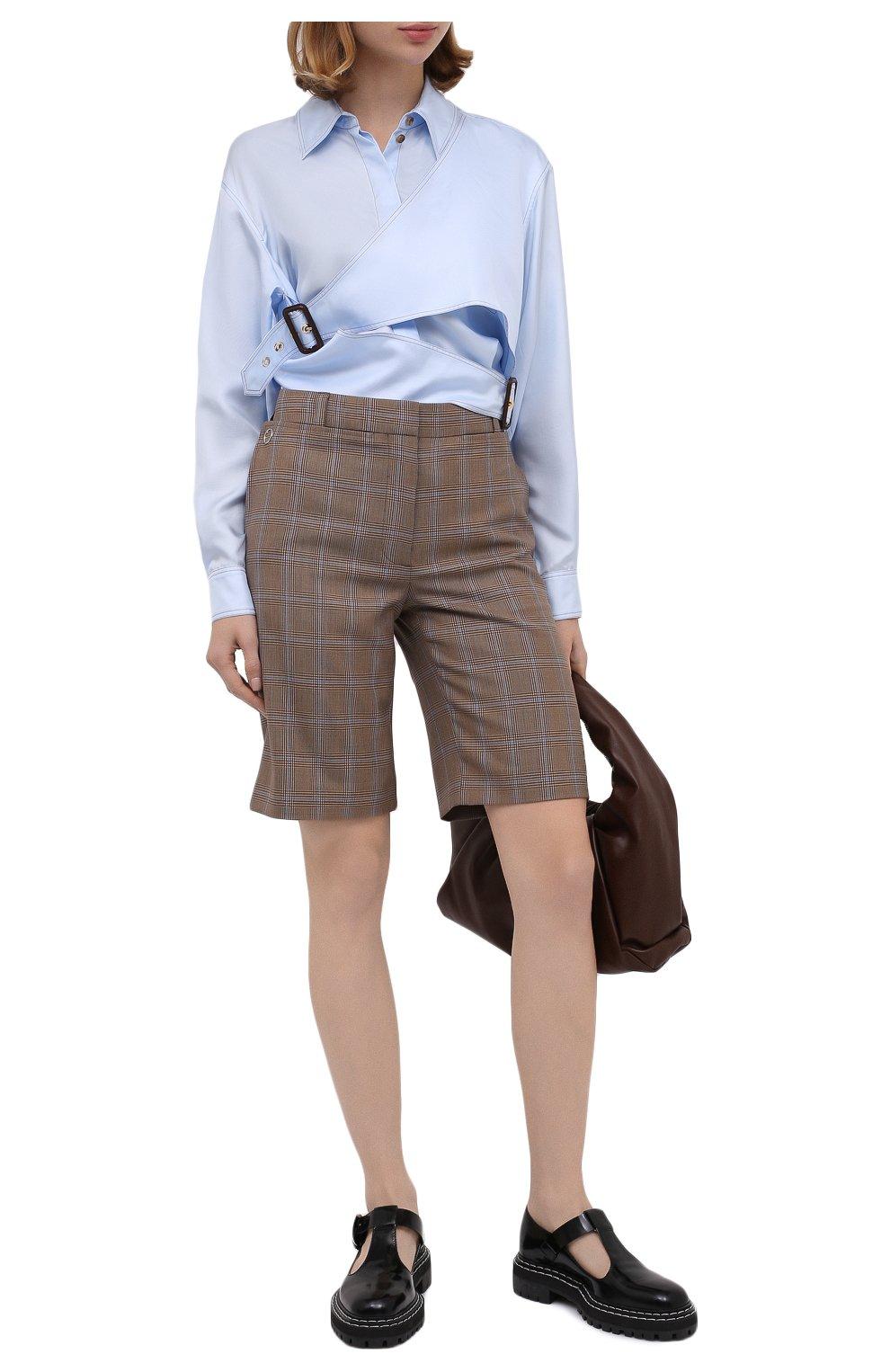 Женские шерстяные шорты BURBERRY коричневого цвета, арт. 8031218   Фото 3 (Женское Кросс-КТ: Шорты-одежда; Материал внешний: Шерсть; Длина Ж (юбки, платья, шорты): Мини; Материал подклада: Купро)