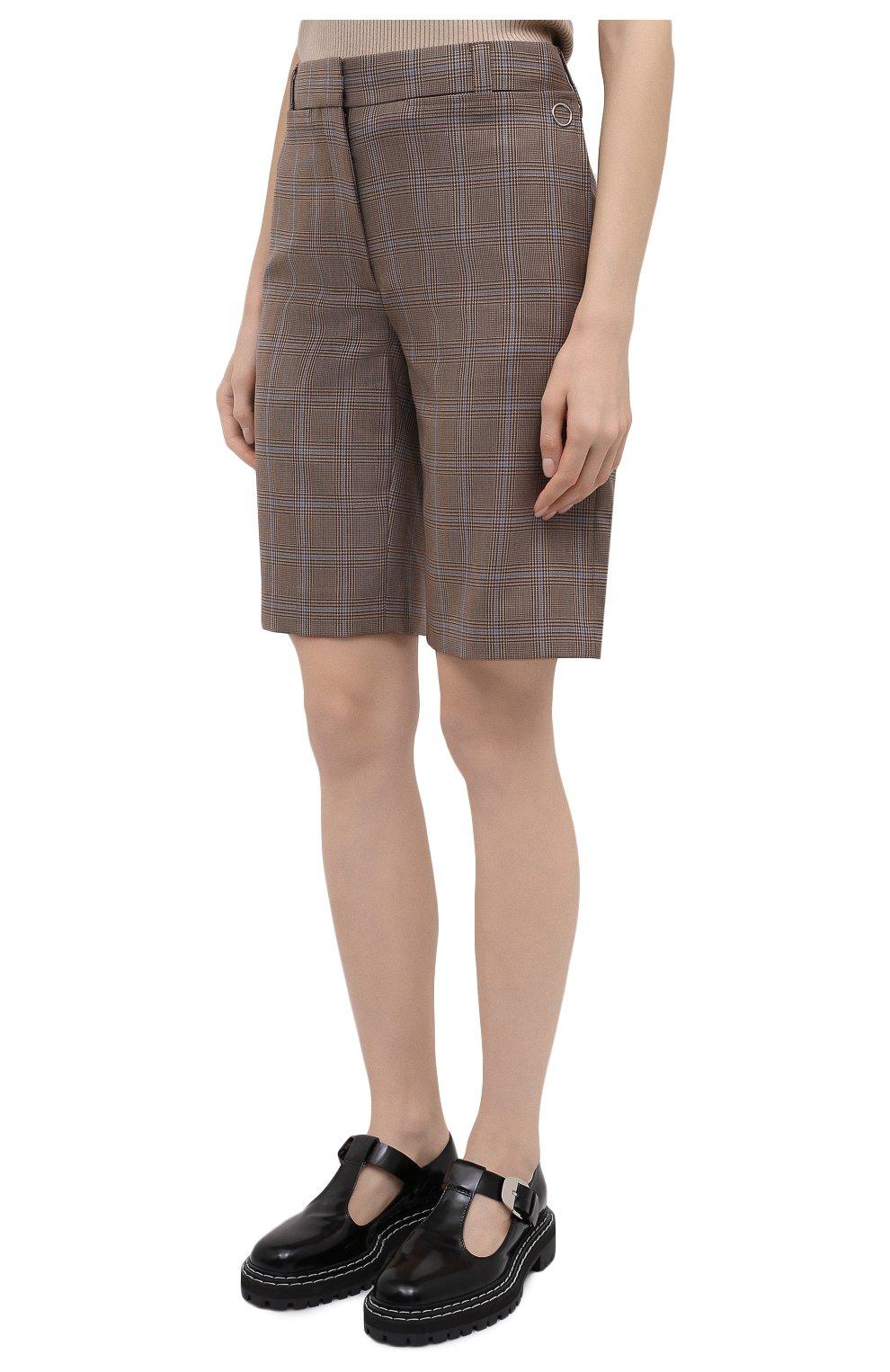 Женские шерстяные шорты BURBERRY коричневого цвета, арт. 8031218   Фото 4 (Женское Кросс-КТ: Шорты-одежда; Материал внешний: Шерсть; Длина Ж (юбки, платья, шорты): Мини; Материал подклада: Купро)