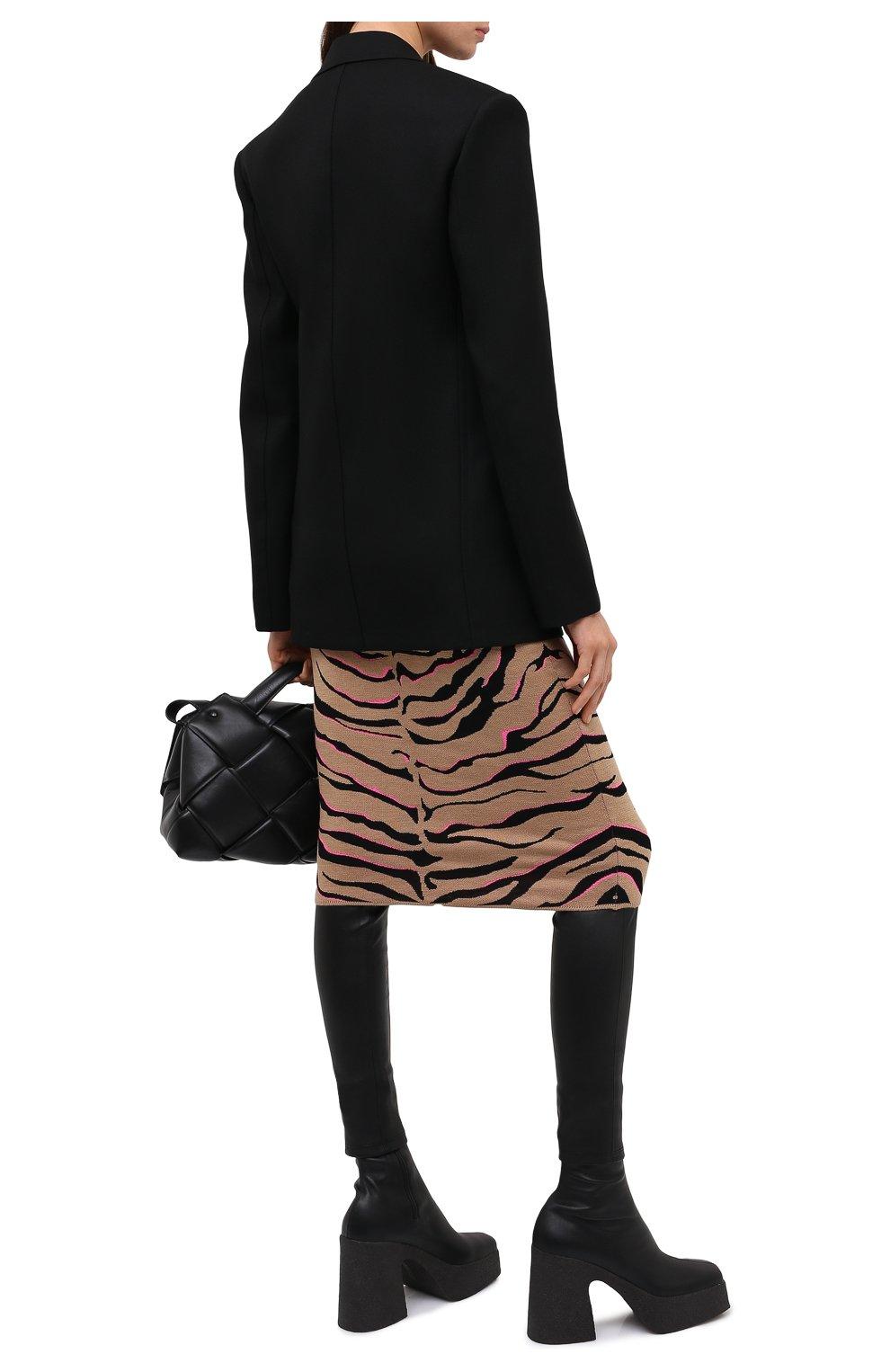 Женская юбка из шерсти и вискозы STELLA MCCARTNEY коричневого цвета, арт. 601765/S2210 | Фото 3