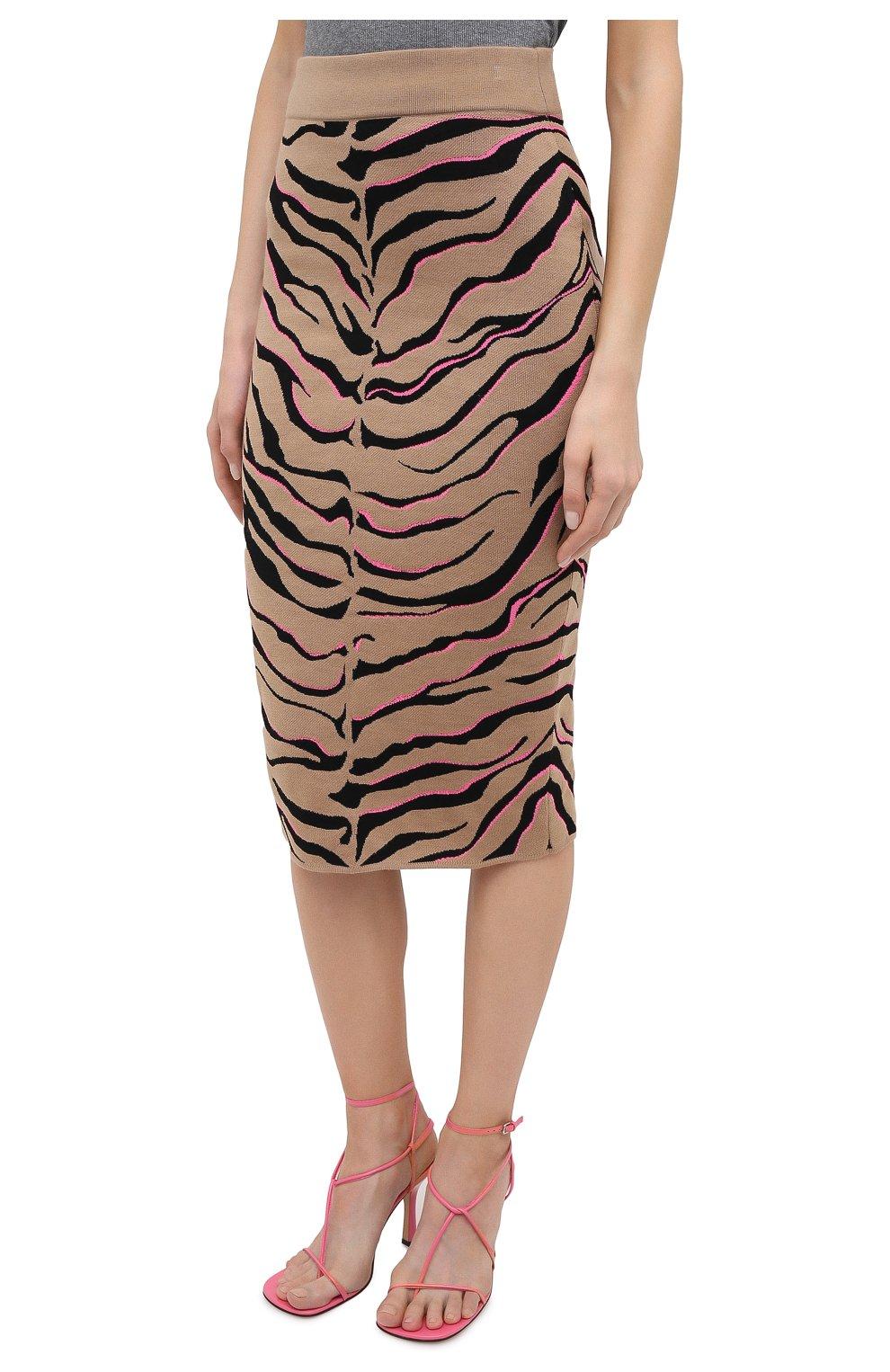 Женская юбка из шерсти и вискозы STELLA MCCARTNEY коричневого цвета, арт. 601765/S2210 | Фото 4