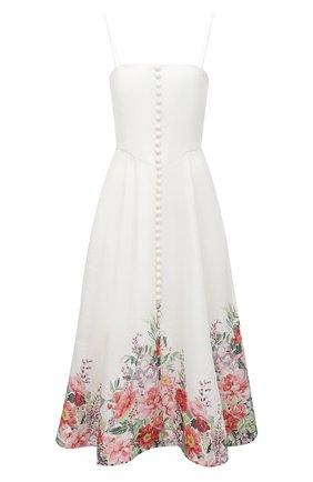 Женское льняное платье ZIMMERMANN светло-бежевого цвета, арт. 8391DBTD | Фото 1