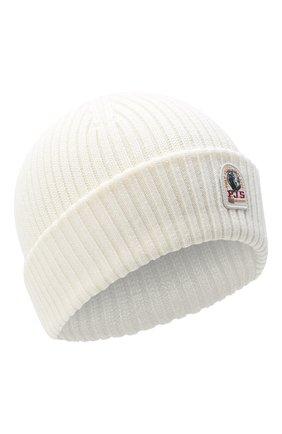 Мужская шерстяная шапка PARAJUMPERS белого цвета, арт. HA02/RIB HAT | Фото 1