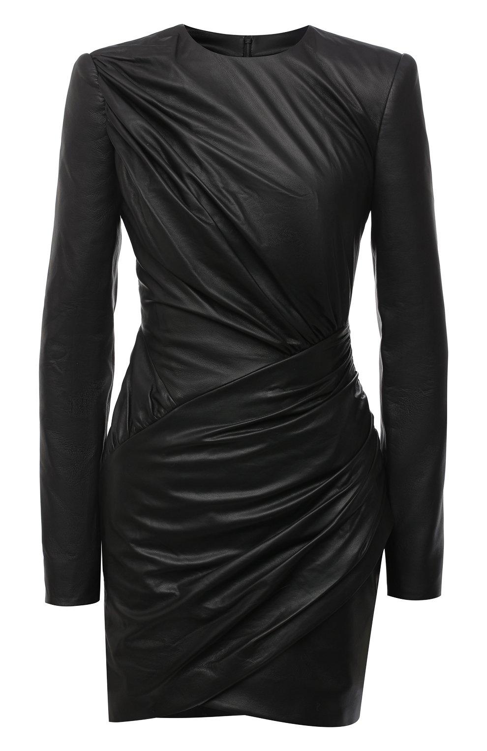 Женское кожаное платье ALEXANDRE VAUTHIER черного цвета, арт. 203LDR1300 0404 | Фото 1