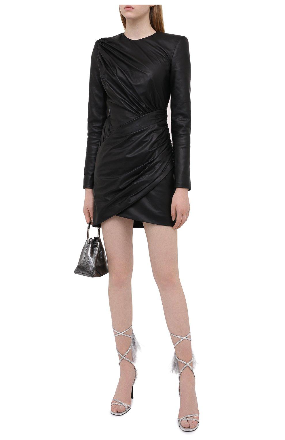 Женское кожаное платье ALEXANDRE VAUTHIER черного цвета, арт. 203LDR1300 0404 | Фото 2