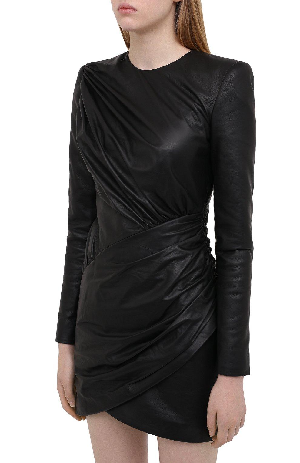 Женское кожаное платье ALEXANDRE VAUTHIER черного цвета, арт. 203LDR1300 0404 | Фото 3