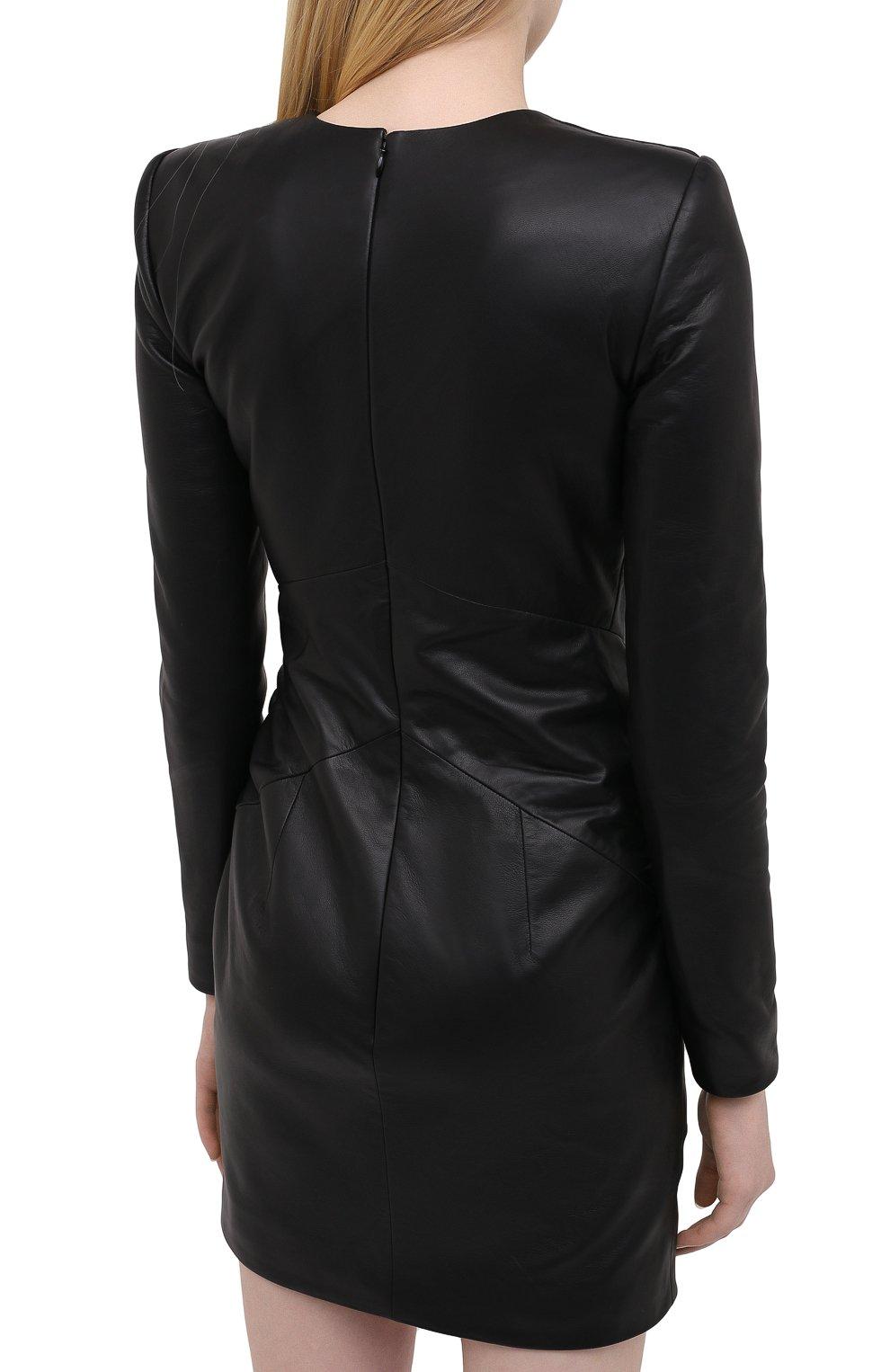 Женское кожаное платье ALEXANDRE VAUTHIER черного цвета, арт. 203LDR1300 0404 | Фото 4