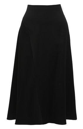 Женская юбка из вискозы и льна VINCE черного цвета, арт. V674930610 | Фото 1