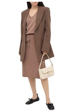 Женская юбка из шерсти и кашемира MAX&MOI коричневого цвета, арт. H20JANIS   Фото 2