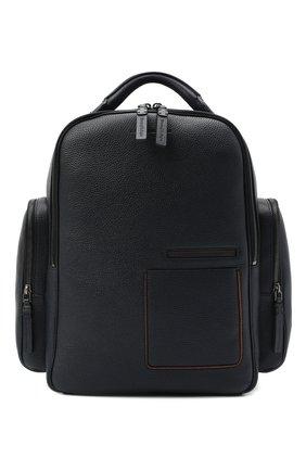 Мужской кожаный рюкзак ERMENEGILDO ZEGNA темно-синего цвета, арт. C1558W-LHDAI   Фото 1