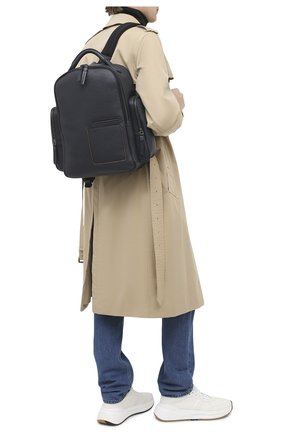 Мужской кожаный рюкзак ERMENEGILDO ZEGNA темно-синего цвета, арт. C1558W-LHDAI   Фото 2