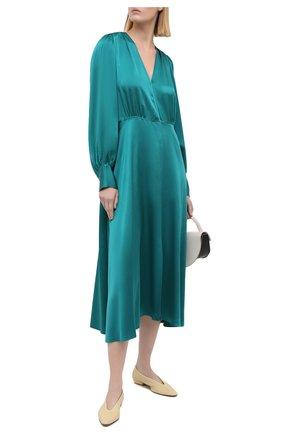 Женское шелковое платье FORTE_FORTE бирюзового цвета, арт. 7558 | Фото 2