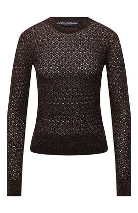 Женская пуловер из шерсти и вискозы DOLCE & GABBANA коричневого цвета, арт. FX955T/JAM7C | Фото 1