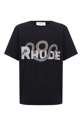 Мужская хлопковая футболка RHUDE черного цвета, арт. RHU08PF20008 | Фото 1