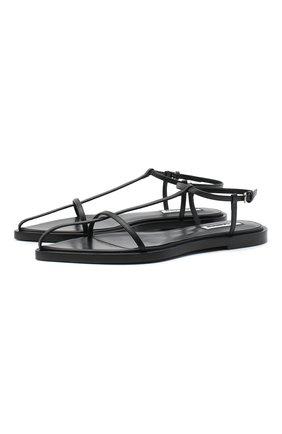Женские кожаные сандалии JIL SANDER черного цвета, арт. JS35130A-12020 | Фото 1