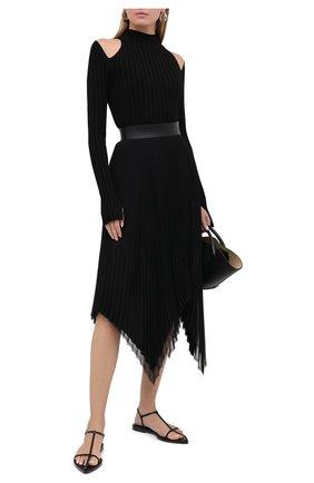 Женские кожаные сандалии JIL SANDER черного цвета, арт. JS35130A-12020 | Фото 2