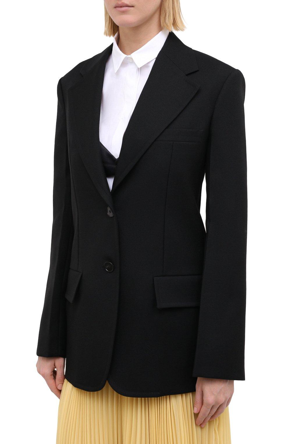 Женский шерстяной жакет JIL SANDER черного цвета, арт. JSPR130011-WR201000   Фото 4