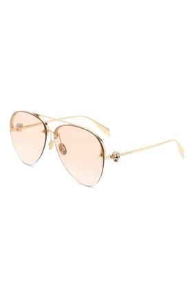 Женские солнцезащитные очки ALEXANDER MCQUEEN золотого цвета, арт. AM0270S-004   Фото 1
