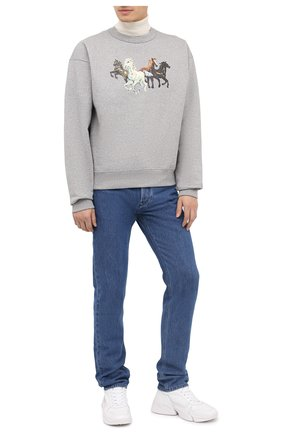 Мужской хлопковый свитшот KENZO серого цвета, арт. FA65SW5114MG | Фото 2