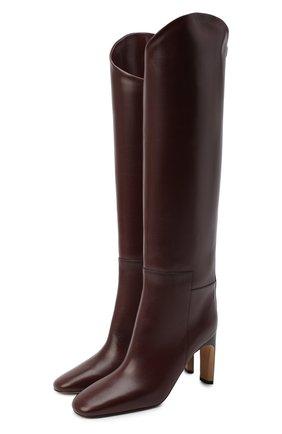 Женские кожаные сапоги JIL SANDER бордового цвета, арт. JS35053A-12003   Фото 1
