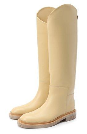 Женские кожаные сапоги JIL SANDER желтого цвета, арт. JS35043A-12002   Фото 1