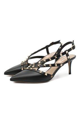 Женские кожаные туфли rockstud VALENTINO черного цвета, арт. UW0S0AM0/V0D | Фото 1