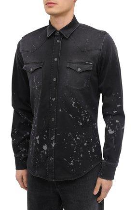 Мужская джинсовая рубашка DOLCE & GABBANA черного цвета, арт. G5EX7D/G8C05 | Фото 3