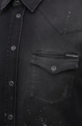 Мужская джинсовая рубашка DOLCE & GABBANA черного цвета, арт. G5EX7D/G8C05 | Фото 5