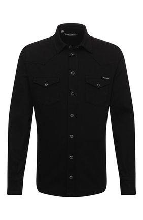 Мужская хлопковая рубашка DOLCE & GABBANA черного цвета, арт. G5EX7D/G8CY9 | Фото 1