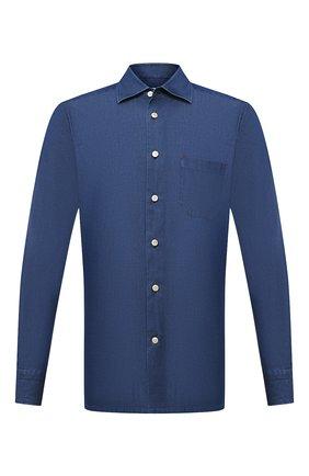 Мужская хлопковая рубашка KITON темно-синего цвета, арт. UMCNERH0741701 | Фото 1