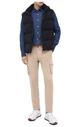 Мужская хлопковая рубашка KITON темно-синего цвета, арт. UMCNERH0741701 | Фото 2