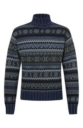 Мужской свитер из хлопка и льна RRL синего цвета, арт. 782799902 | Фото 1
