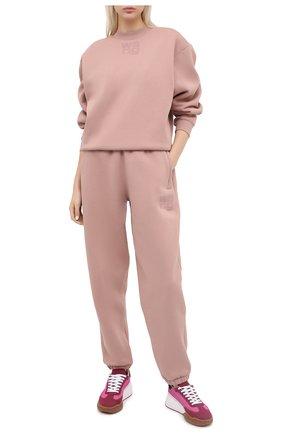 Женские хлопковые джоггеры ALEXANDERWANG.T розового цвета, арт. 4CC1204061 | Фото 2