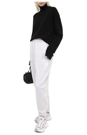 Женские хлопковые джоггеры ALEXANDERWANG.T светло-серого цвета, арт. 4CC1204061 | Фото 2