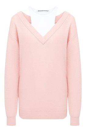 Женский шерстяной пуловер ALEXANDERWANG.T розового цвета, арт. 4KC1201038 | Фото 1