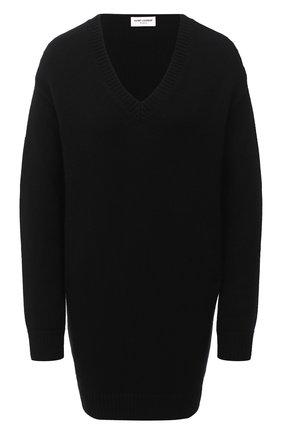 Женское кашемировое платье SAINT LAURENT черного цвета, арт. 637299/YALJ2 | Фото 1