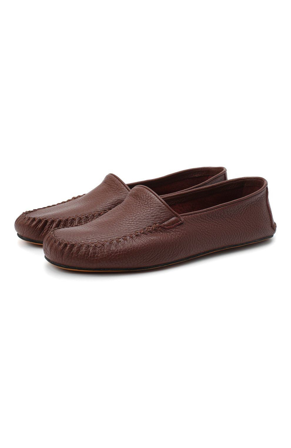 Мужского кожаные домашние туфли FARFALLA коричневого цвета, арт. P0RT | Фото 1 (Материал внутренний: Натуральная кожа; Мужское Кросс-КТ: Слиперы-обувь)