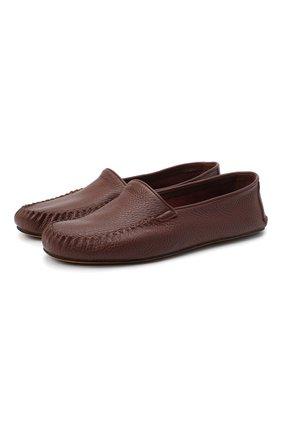Мужского кожаные домашние туфли FARFALLA коричневого цвета, арт. P0RT | Фото 1