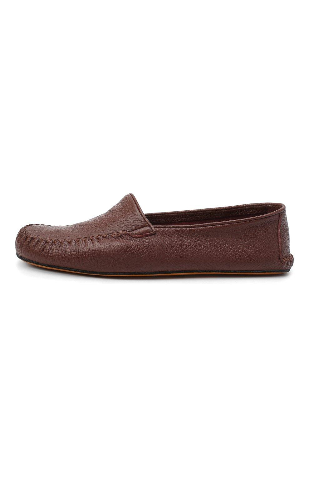Мужского кожаные домашние туфли FARFALLA коричневого цвета, арт. P0RT | Фото 3 (Материал внутренний: Натуральная кожа; Мужское Кросс-КТ: Слиперы-обувь)
