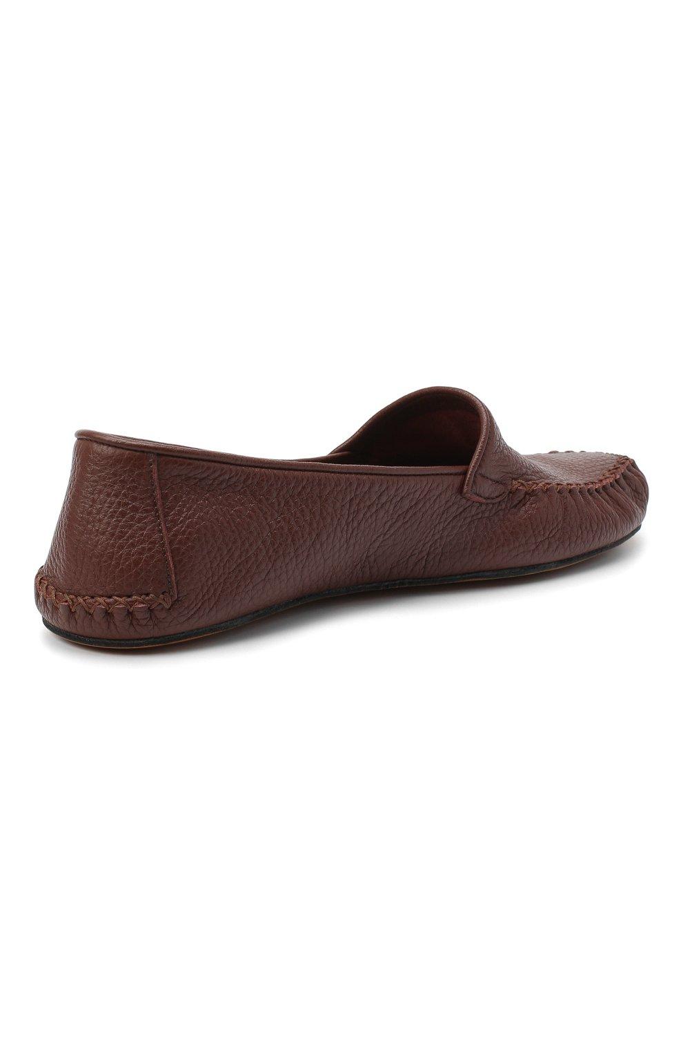 Мужского кожаные домашние туфли FARFALLA коричневого цвета, арт. P0RT | Фото 4 (Материал внутренний: Натуральная кожа; Мужское Кросс-КТ: Слиперы-обувь)