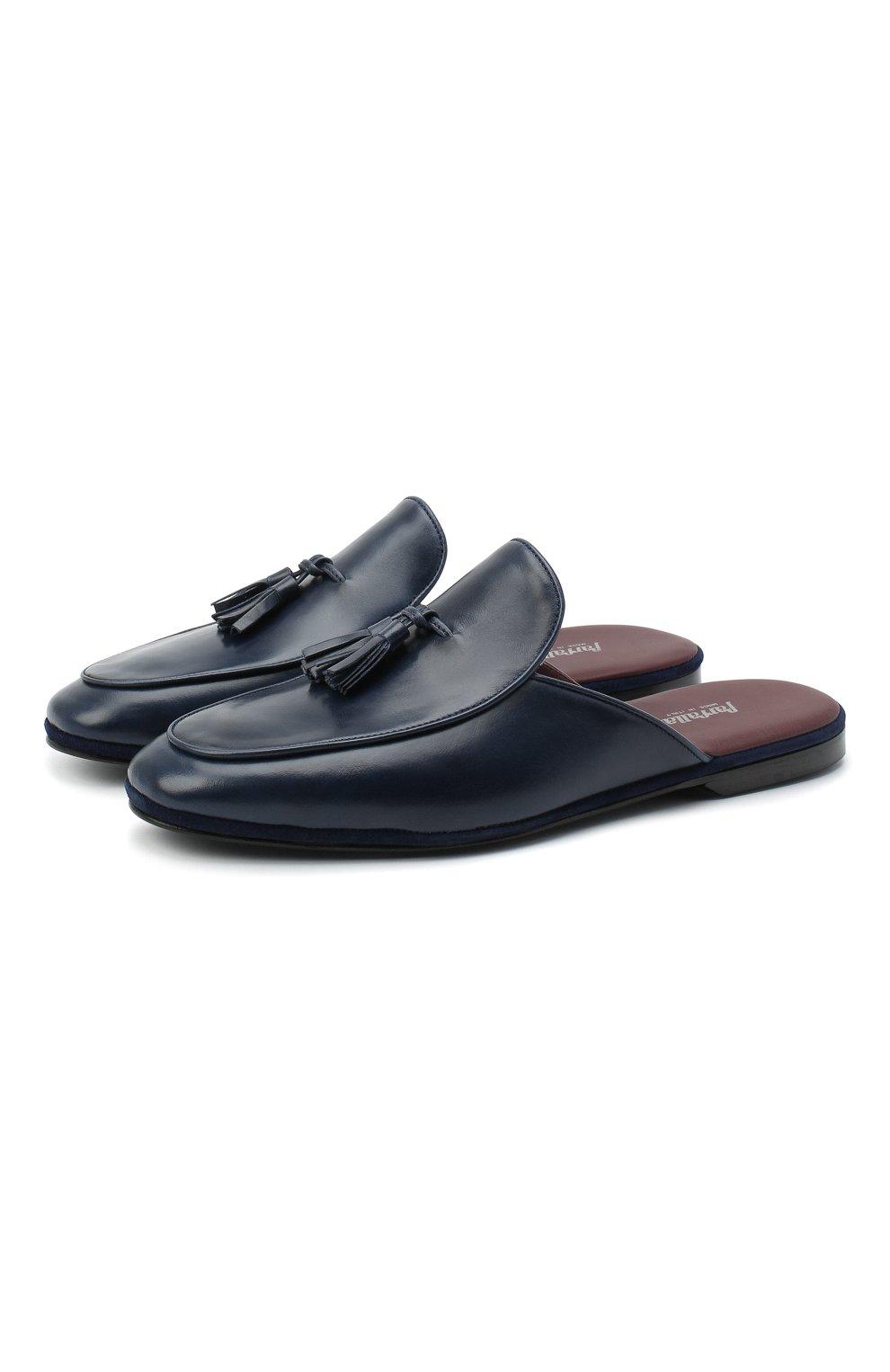 Мужского кожаные домашние туфли FARFALLA темно-синего цвета, арт. GT61N   Фото 1 (Материал внутренний: Натуральная кожа; Мужское Кросс-КТ: тапочки-обувь)