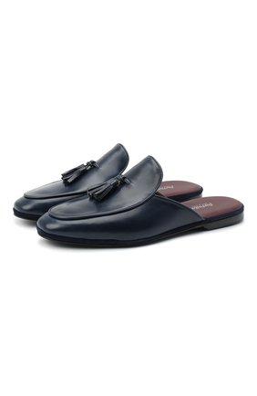 Мужского кожаные домашние туфли FARFALLA темно-синего цвета, арт. GT61N | Фото 1