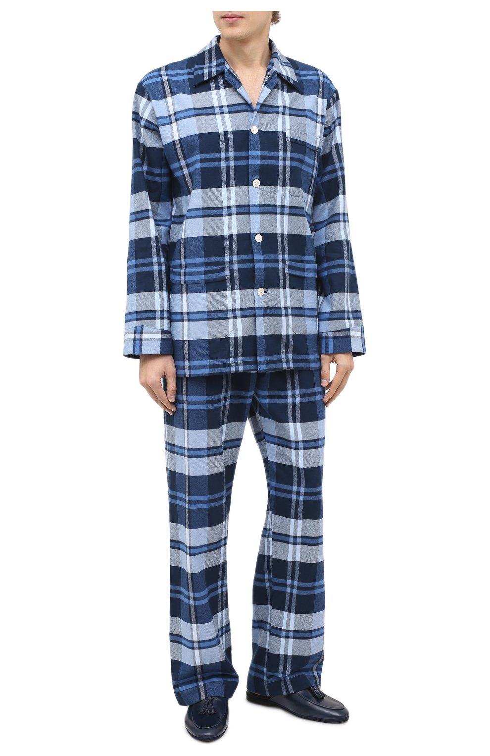 Мужского кожаные домашние туфли FARFALLA темно-синего цвета, арт. GT61N   Фото 2 (Материал внутренний: Натуральная кожа; Мужское Кросс-КТ: тапочки-обувь)