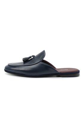 Мужского кожаные домашние туфли FARFALLA темно-синего цвета, арт. GT61N   Фото 3 (Материал внутренний: Натуральная кожа; Мужское Кросс-КТ: тапочки-обувь)