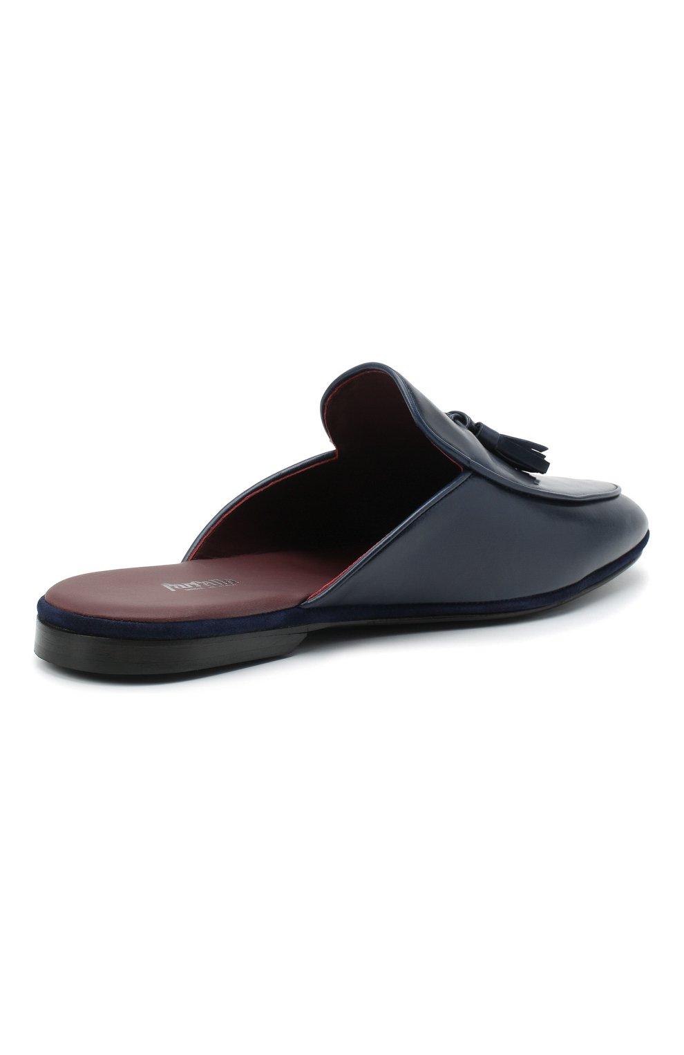 Мужского кожаные домашние туфли FARFALLA темно-синего цвета, арт. GT61N   Фото 4 (Материал внутренний: Натуральная кожа; Мужское Кросс-КТ: тапочки-обувь)
