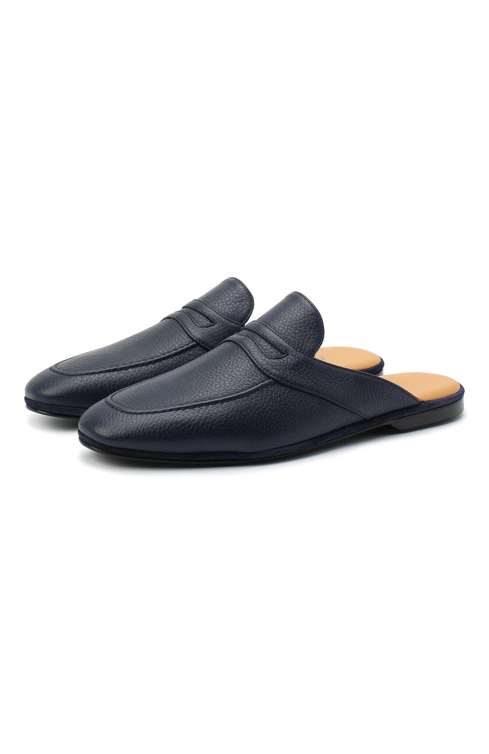 Мужского кожаные домашние туфли FARFALLA темно-синего цвета, арт. GT2   Фото 1 (Материал внутренний: Натуральная кожа; Мужское Кросс-КТ: тапочки-обувь)