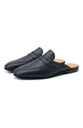 Мужского кожаные домашние туфли FARFALLA темно-синего цвета, арт. GT2 | Фото 1