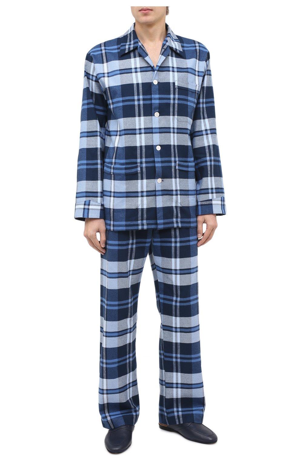 Мужского кожаные домашние туфли FARFALLA темно-синего цвета, арт. GT2   Фото 2 (Материал внутренний: Натуральная кожа; Мужское Кросс-КТ: тапочки-обувь)