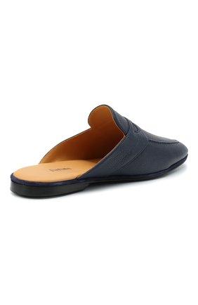 Мужского кожаные домашние туфли FARFALLA темно-синего цвета, арт. GT2   Фото 4 (Материал внутренний: Натуральная кожа; Мужское Кросс-КТ: тапочки-обувь)