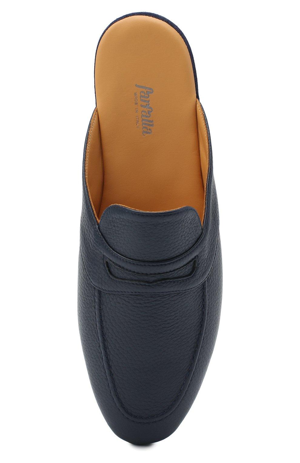 Мужского кожаные домашние туфли FARFALLA темно-синего цвета, арт. GT2   Фото 5 (Материал внутренний: Натуральная кожа; Мужское Кросс-КТ: тапочки-обувь)