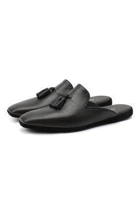 Мужского кожаные домашние туфли FARFALLA темно-коричневого цвета, арт. D4KN | Фото 1